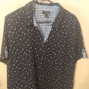 Erika Navy Blue with White Stars Shirt Blouse XL